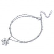 Snowflake Double Layer Adjustable Chain Anklet Bracelet Women Girls Stainless Steel Anklets Foot Jewellery