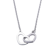 Double Heart Interlocking Pendant Necklace for Women Lady Girl Stainless Steel Adjustable Chain