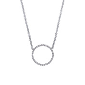 Twisted Circle Simple Geometric Pendant Necklace for Women Lady Girl Stainless Steel Adjustable Chain