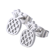 Silver Tone Stainless Steel Pineapple Ear Studs Earings Jewellery for Women Men Hypoallergenic