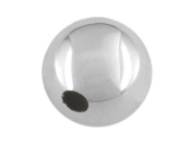 Sterling Silver Plain Round Bead, 9mm, 1 Hole Bead