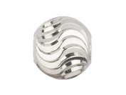 Sterling Silver Double Moon Cut Round Bead 4mm