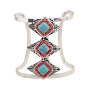 Silver Tone Bohemia Stretch Bangle Bracelet Turquoise Gem Wide Cuff Bangle Jewellery