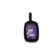 GEM MART EU Macrame Pendent,Purple Coral Macrame Pendent,Handmade Natural Gemstone Pendant,Boho Pendant.