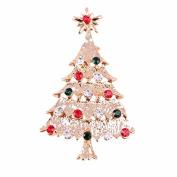 Fablcrew Elegant Brooch Pin Colourful Crystal Christmas Tree Wedding Bridal Brooch Pin for Women Lady