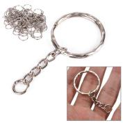 50pcs Split Rings Key Rings Keychain Stainless Steel - Silver 25mm