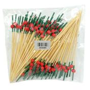 ADIASEN 100pcs 12cm Natural Bamboo Finger Ring Party Cocktail Toothpicks Sticks Sandwich Fruit
