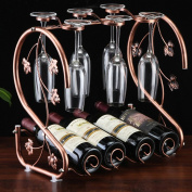 Retro Metal Wine Rack,4 Wine Bottle Storage Rack and 6 Glass Down Cup Holder ,Bronze