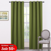 Thermal Blackout Curtain Panels Privacy - PONY DANCE Soft Fashionable Blackout Window Curtains Drapery Block Light for Bedroom, Cold Against & Noise Reducing, 2 Pcs, Width 120cm x Depth 230cm , Olive Green