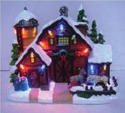 Santas Forest 29927 Tabletop Decorations, Resin Holiday Village, Barn