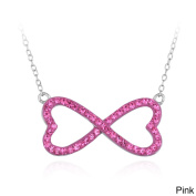 Crystal Ice Silvertone Crystal Heart Infinity Necklace with Elements