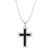 Steeltime Stainless Steel Cross Pendant with Black IP Inlay