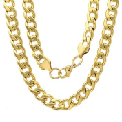 HMY jewellery 18k Yellow Goldplated Stainless Steel 60cm Curb Chain Link Necklace