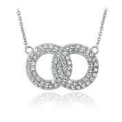 Crystal Ice Silvertone Crystal Interlocking Circles Necklace with Elements