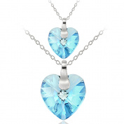 Crystal Ice Sterling Silver Elements Mother Daughter Heart Pendant Set