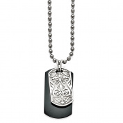 Men's Titanium/Sterling Silver Black Ti Polished Etched Dog Tag Necklace