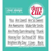 Avery Elle Clear Stamp Set, 10cm x 7.6cm , Simply Said
