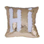 TiaoBug 40 x 40cm Reversible Sequins Pillow Cover Throw Cushion Case Home Decor Colour Changing Pillow Case Insert not Included White & Gold One Size