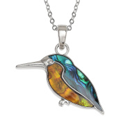 Kiara Jewellery Kingfisher Pendant Necklace Inlaid With Bluish Green And Orange Paua Abalone Shell on 46cm Trace Chain. Non Tarnish Silver Colour Rhodium plated.