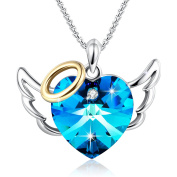 """""""Love Angel """"Heart Pendant Necklace Women Jewellery Birthday Gifts for Girlfriend Daughter,Blue Crystals from"""