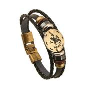 Bishilin Fashion Jewellery Men's Bracelets Leather Bracelet 12 Constellations Cord Bracelet Black