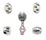 Dog & Cat Themed Charm Bead Sets With Gift Pouch - Compatible With Pandora Troll Chamilia Charm Bracelets