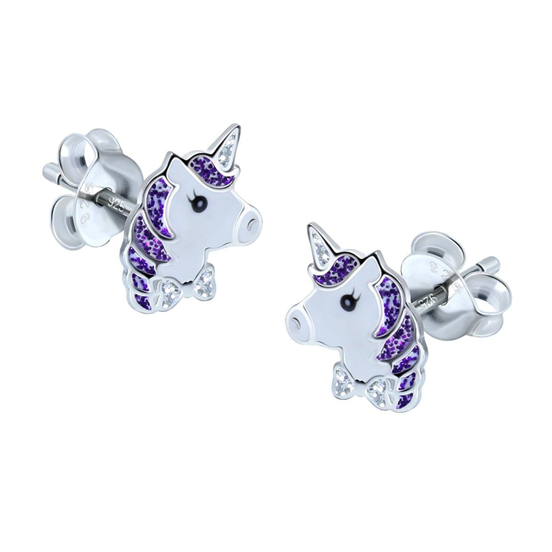 Sterling Silver Unicorn Earrings - Purple Glitter kabIs
