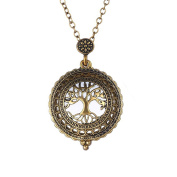 Gold Plated Antique Design Magnifying Glass Pendant Long Chain Necklace