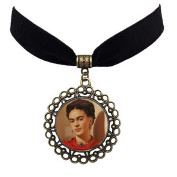 Fashion Jewellery Artist Frida Kahlo Black Choker Necklaces for Women Glass Cabochon Pendant Velvet Ribbon