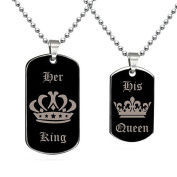 Bodhi2000® Her King His Queen Couple Pendant Necklace Jewellery Crown Dog Tag Necklace Valentine Gift
