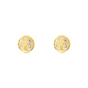Women's and children's tree of life with Mother of Pearl Earrings – Yellow Gold