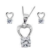 Heart themed silver jewellery with over 1 carat of gemstones