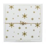 Johnny Loves Rosie Snowflake Gold Gift Card Women Cubic Zirconia Charm Bracelet of Length 22cm 5055632017976