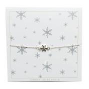 Johnny Loves Rosie Snowflake Silver Gift Card Women Cubic Zirconia Charm Bracelet of Length 22cm 5055632017983