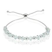 Crystal Ice Sterling Silver Elements Adjustable Slider Bracelet