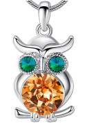 Owl Pendant Necklace for Women Girl Animal Jewellery Teen Lady with Crystals Unique Best Gift
