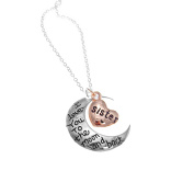 I LOVE YOU TO THE MOON AND BACK HEART PENDANT NECKLACE ROSE GOLD SILVER PLATED GIFT