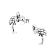 Engraved Flamingo Sterling Silver Stud Earrings 9mm