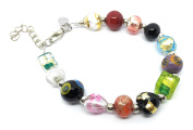 Christmas Gift Christmas Present - Murano Glass Beaded Bracelet - Beautiful Multi-Coloured Murano Glass Beads on a Silver Plated Bracelet - Includes Gift Box & Certificate of Authenticity