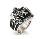 Jiedeng Jewellery Men's Ring Stainless Steel Ring with Eagle Retro Biker Gothic Punk Friendship Partner Ring for Men Silver Black - With Gift Bag