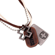 Yiwa Vintage Leather Necklace Creative Cool Double Circle Cross Alloy Pendant with Chain Christmas Gift