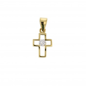 Gold Cross Pendant With Cubic Zirconia 14 Carat Yellow Gold Pendant Chain Pendant Jewellery 3585