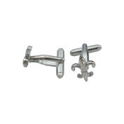 Cufflinks Fleur-de-Lys 3D Symbolic – Silver Bright