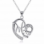 IzuBizu London Crystal Mom Pendant Silver Plated Diamond Mother Necklace - Free Gift Box