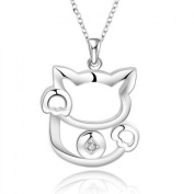 Sterling Silver Women's Necklace with Elegant Cat Pendant Gift Idea