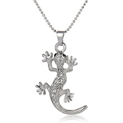 Women's Necklace with Gecko Made with Elements Crystals Gift