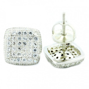 Stud Earrings Screw Back Cusion Shaped Large 8.5mm Wide Cubic Zarcons Sterling Silver