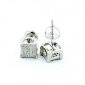 Stud Earrings Fashion CZ Sterling Silver 7mm Wide Screw back