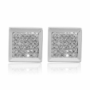 9mm Wide Mens Earrings 10K White Gold 1/10cttww Diamonds Screw Back Square