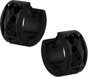 Stainless Steel Thick Black IP Plated Faceted Front Facing Crystal Huggie Hoop Earrings for Men